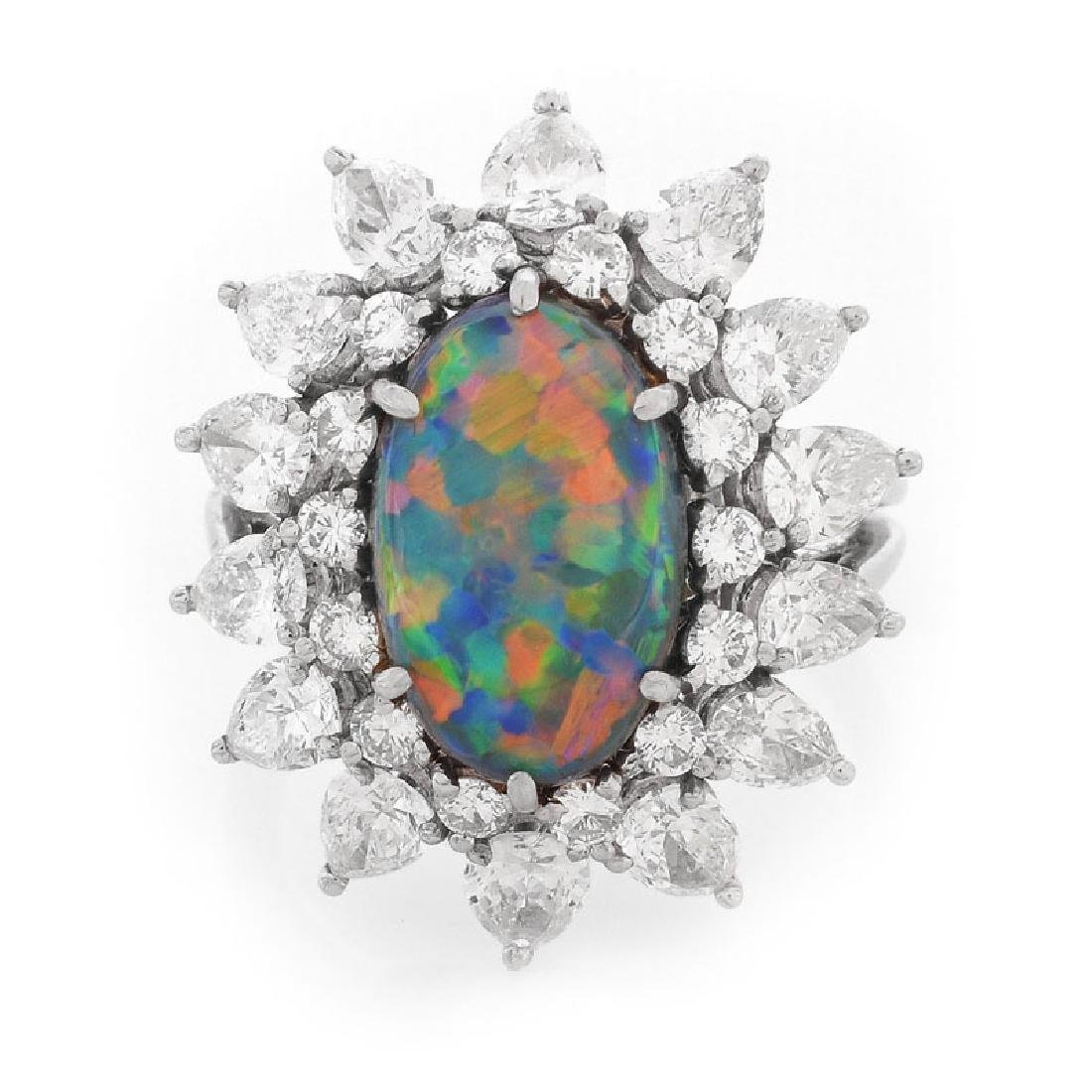 Vintage Tiffany & Co Oval Cabochon Black Opal, Pear