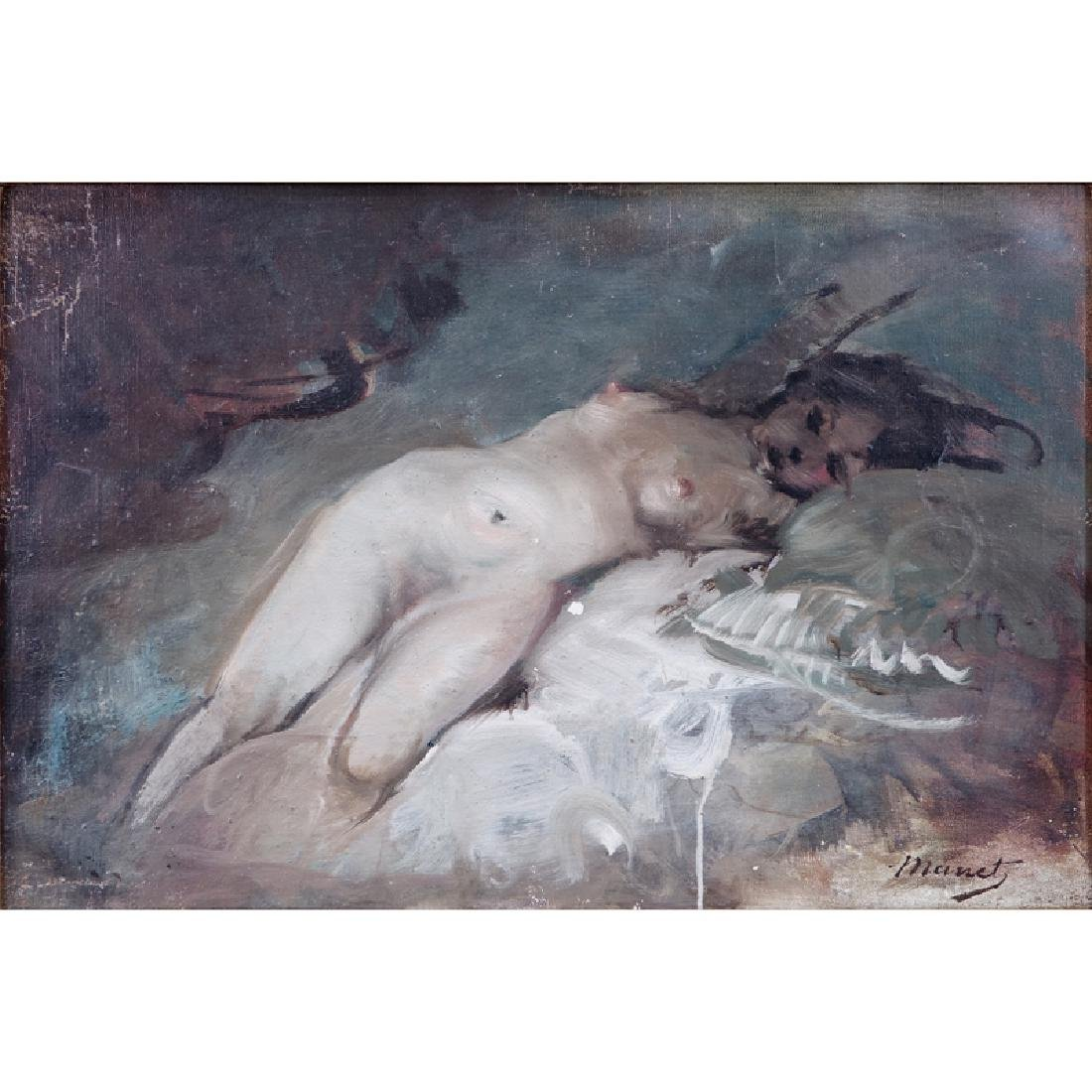 Signed Manet, 20th Century Oil on Canvas, Reclining