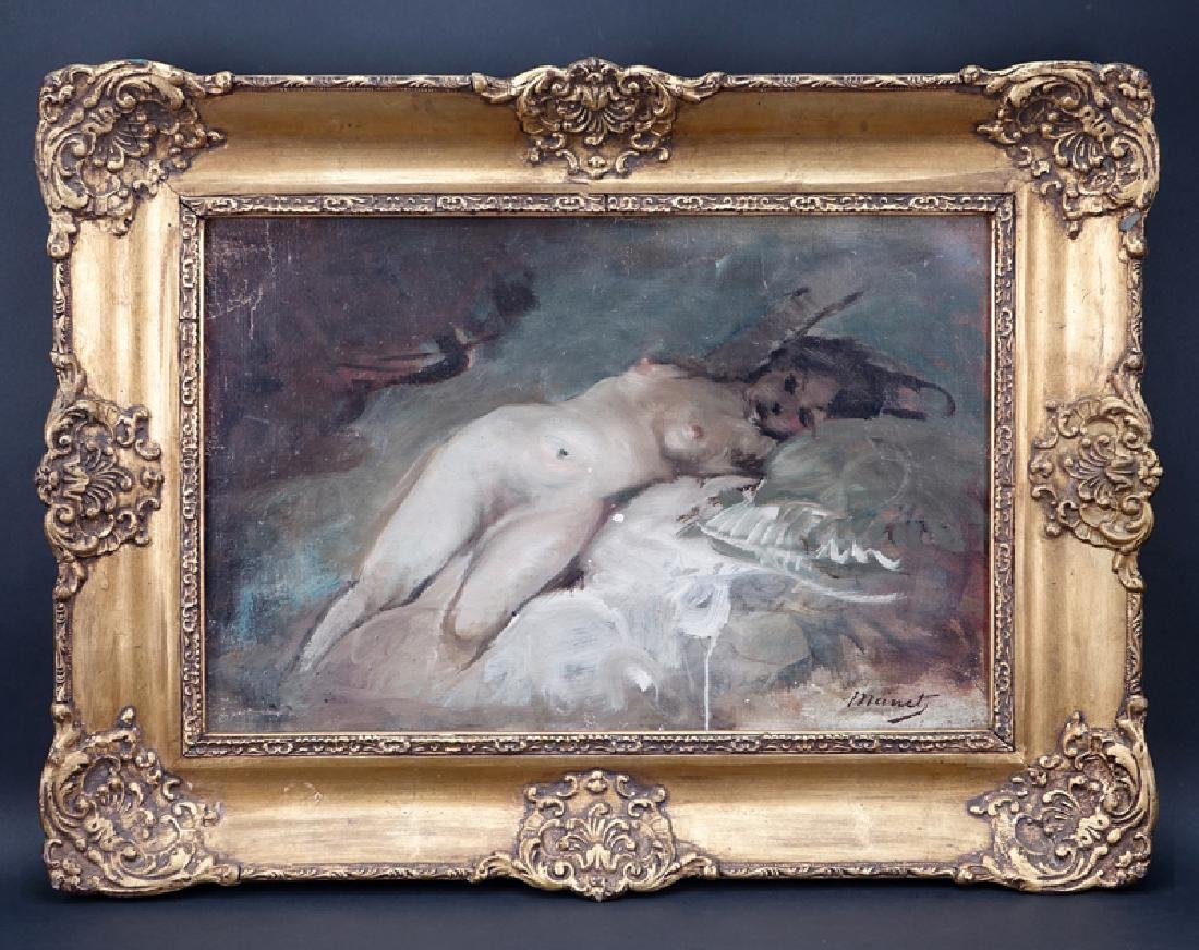 Signed Manet, 20th Century Oil on Canvas, Reclining - 2