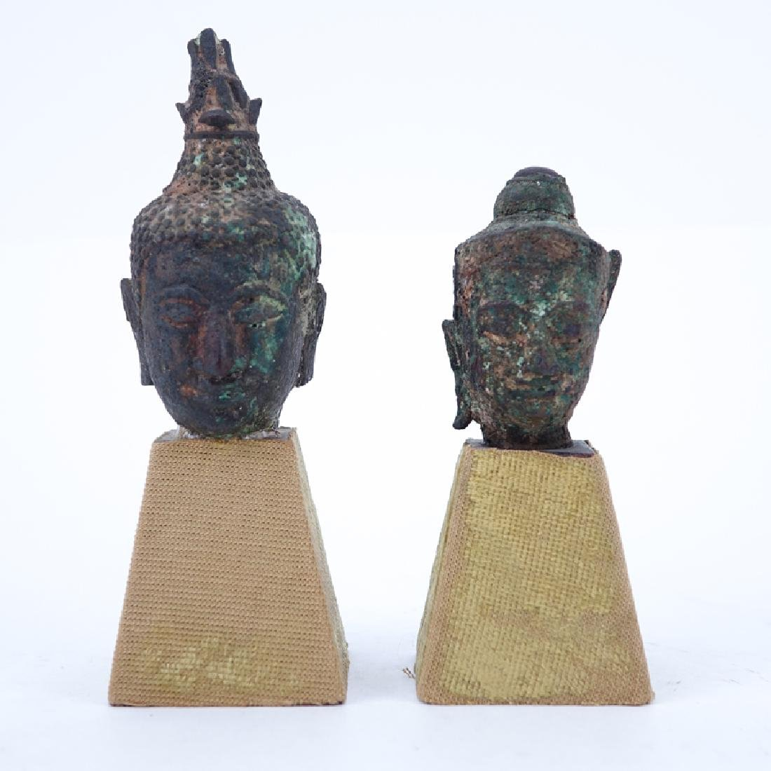 Two (2) Early Chinese Bronze Busts On Plinth Bases.