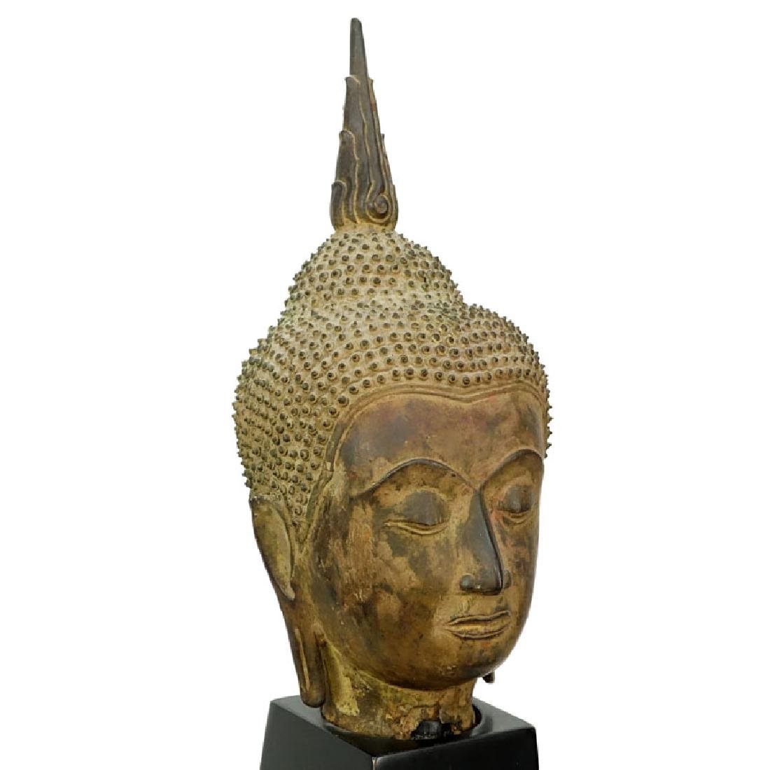Early Thai Sukhothai style Bronze Head of Buddha