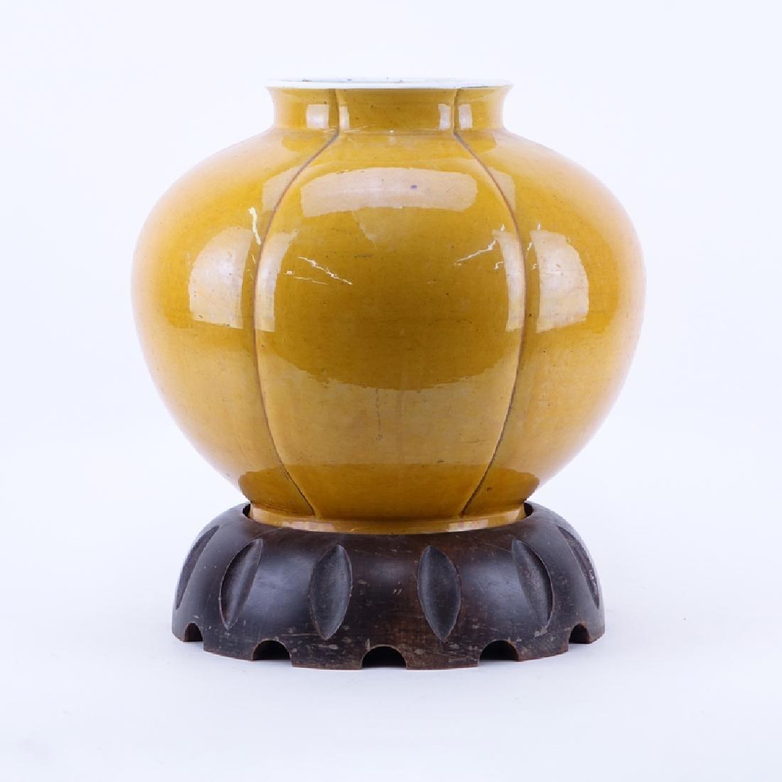 Large Chinese Yellow Glaze Porcelain Jardiniere on