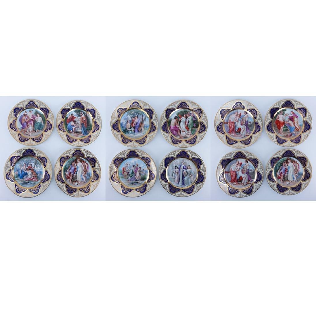 Set of Twelve (12) Limoges Royal Vienna Style Plates