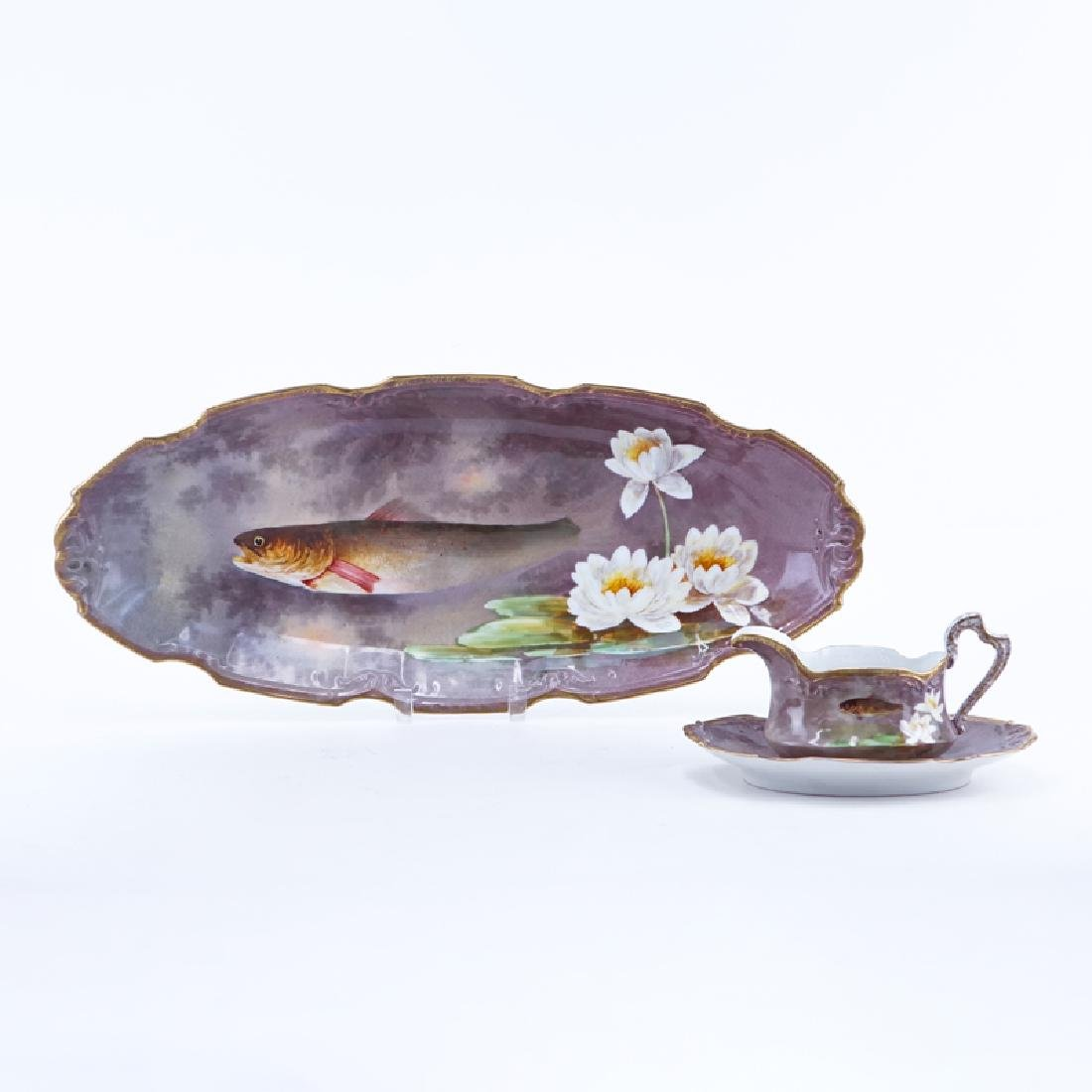 Antique Limoges Porcelain Hand Painted Fish Platter and