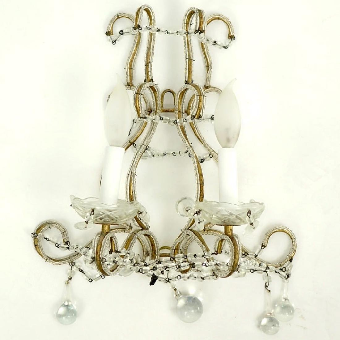 Crystal Vintage Beaded Metal Sconce