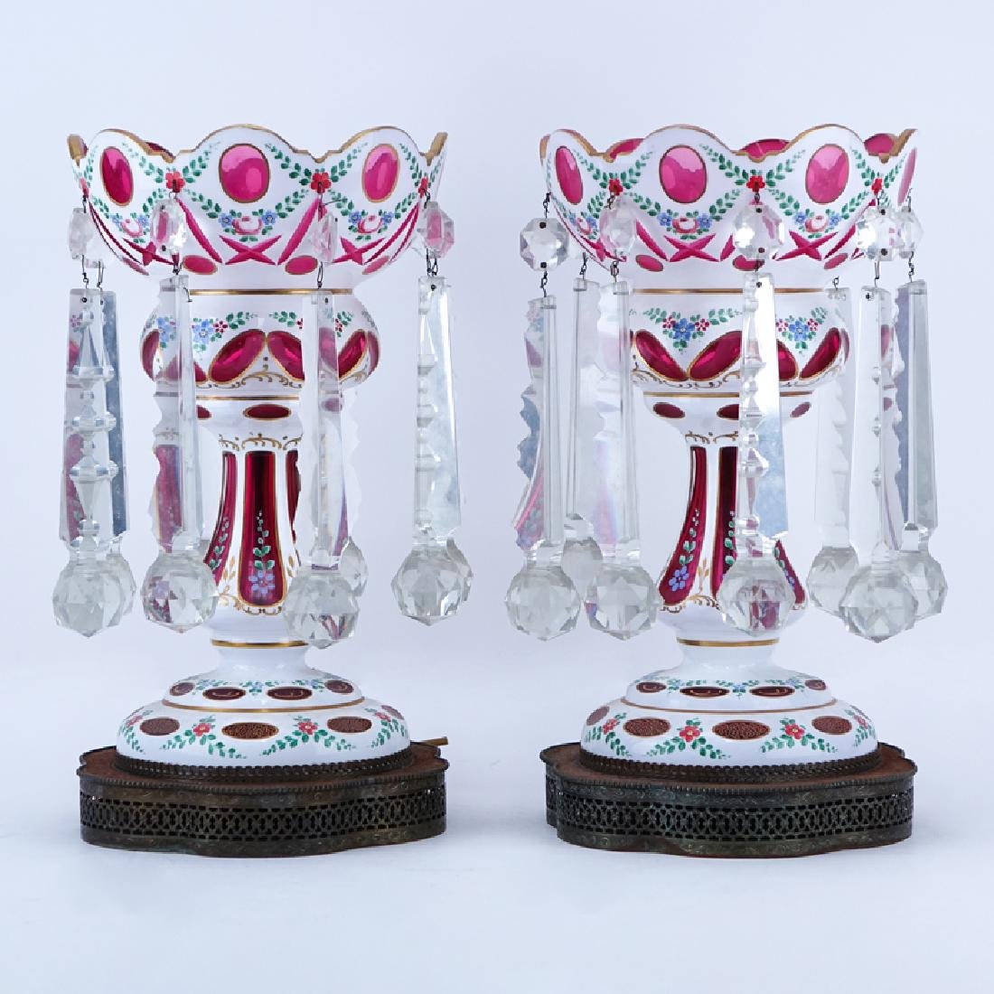 Pair of Bohemian Cranberry to Clear Glass Lusters with