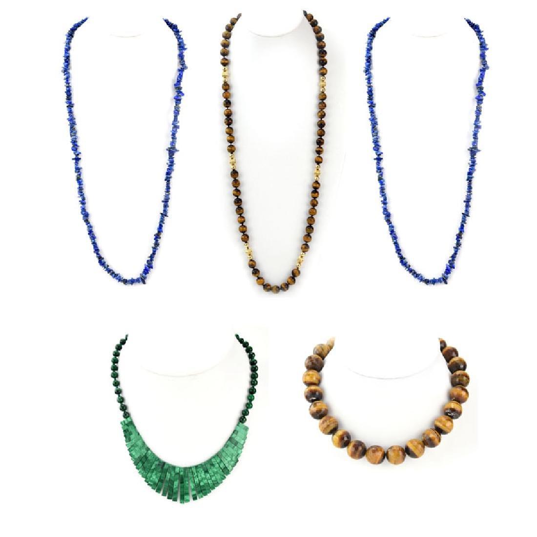 Five (5) Vintage Semi-Precious Stone Necklaces