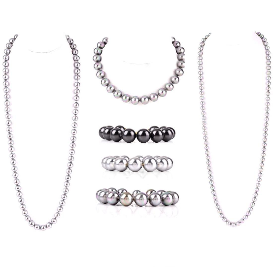 Four (4) Majorica Pearl Necklaces and Bracelet