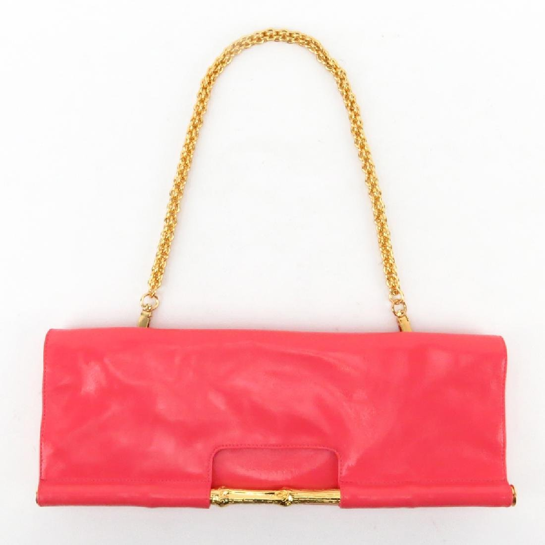 Trina Turk Salmon Pink Patent Leather Clutch