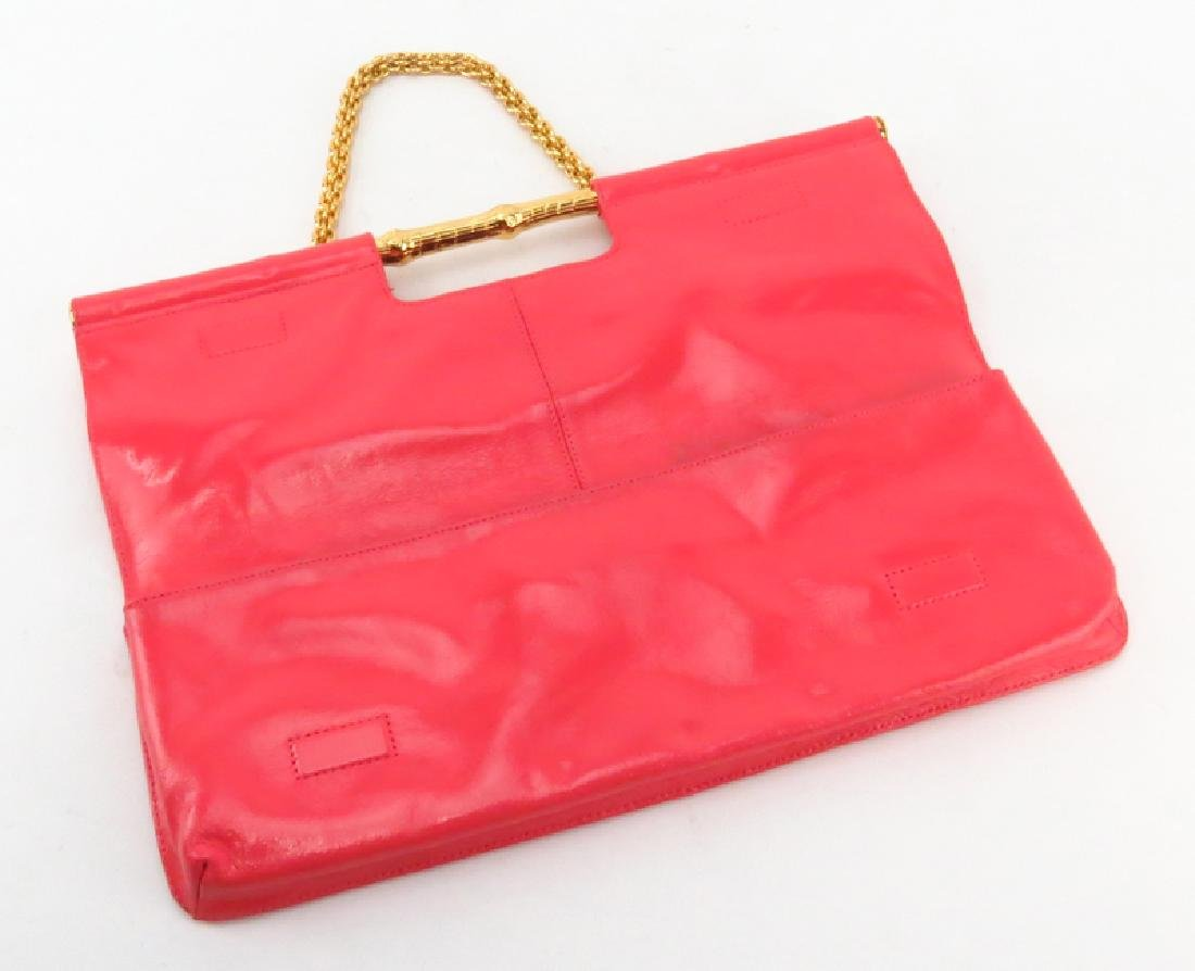 Trina Turk Salmon Pink Patent Leather Clutch - 2