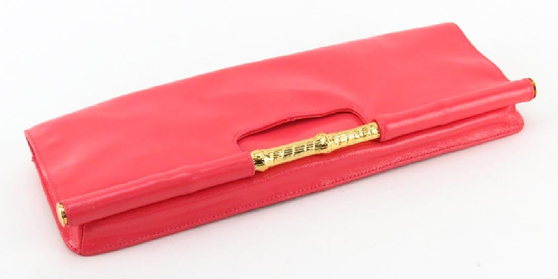 Trina Turk Salmon Pink Patent Leather Clutch - 3
