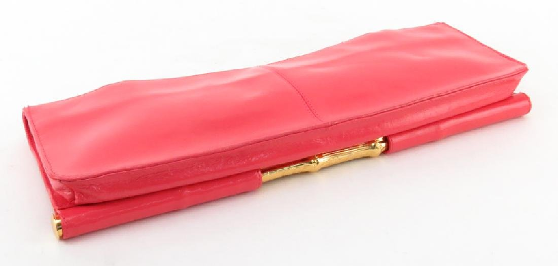 Trina Turk Salmon Pink Patent Leather Clutch - 6