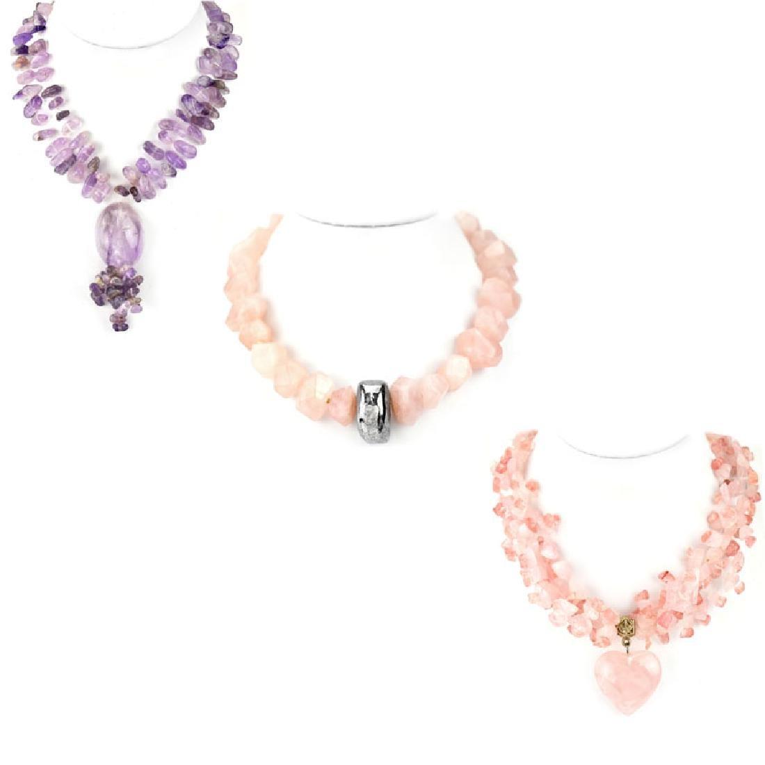 Three (3) Vintage Quartz Beaded Necklaces