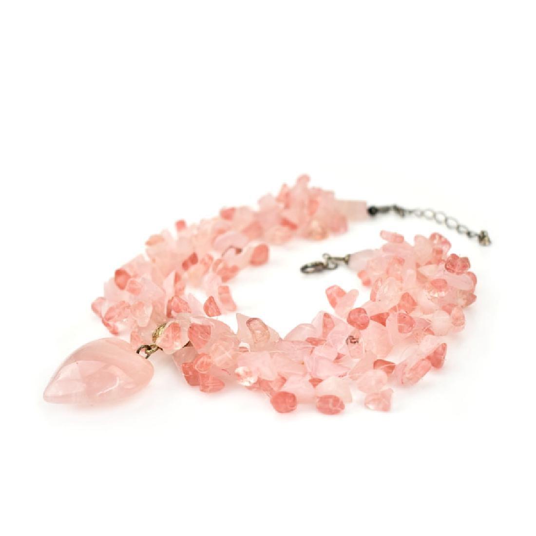 Three (3) Vintage Quartz Beaded Necklaces - 4