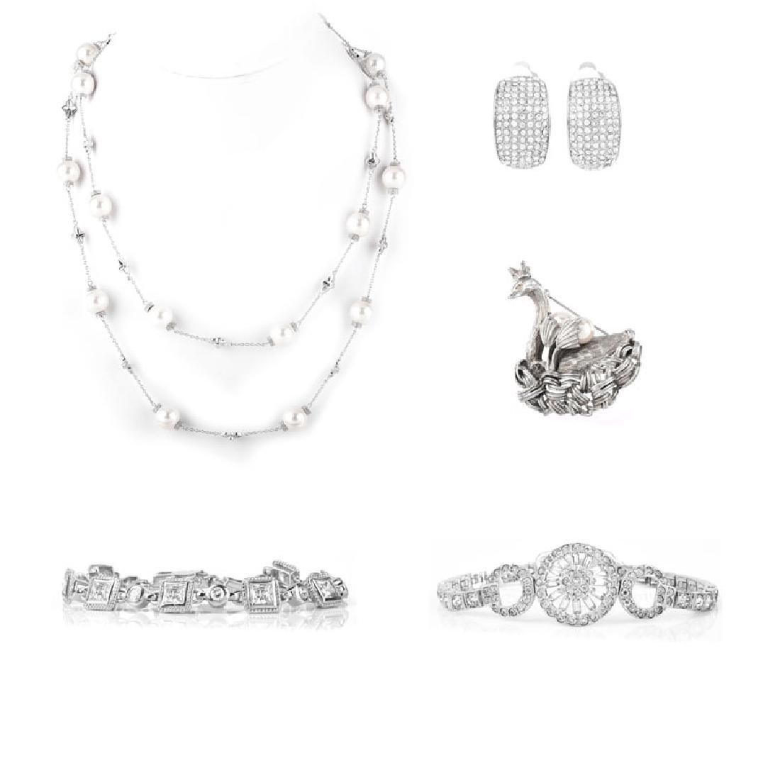 Five (5) Pieces Sterling Silver CZ and Faux Pearl
