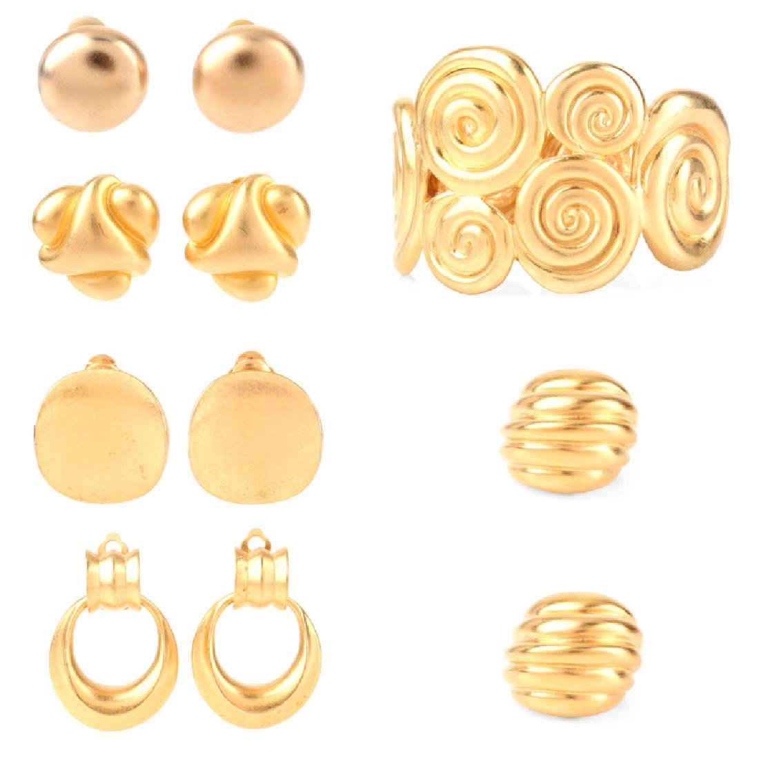 Seven (7) Pieces Gold-Tone Costume Jewelry
