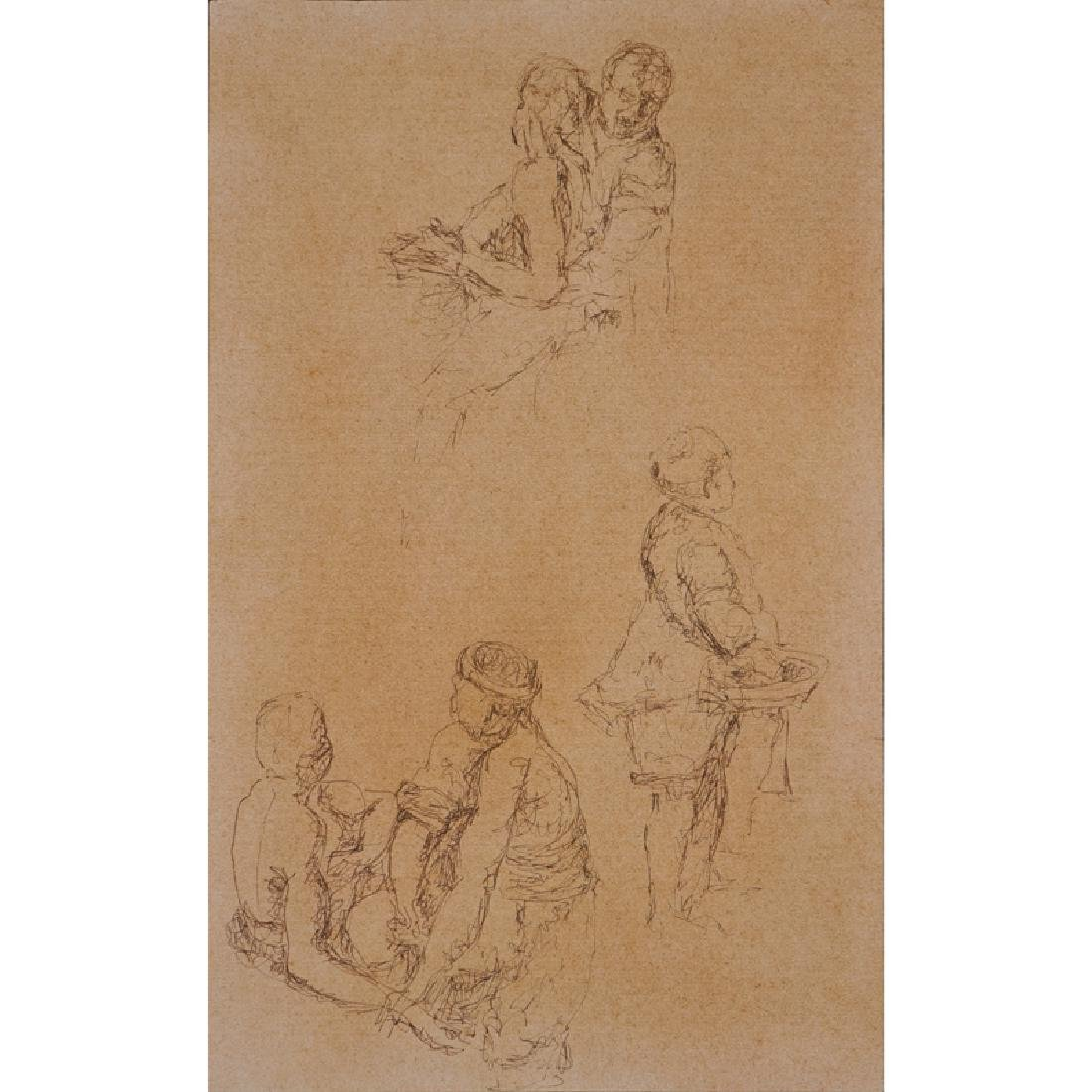 18/19th Century Old Master Drawing In Ink On Brown