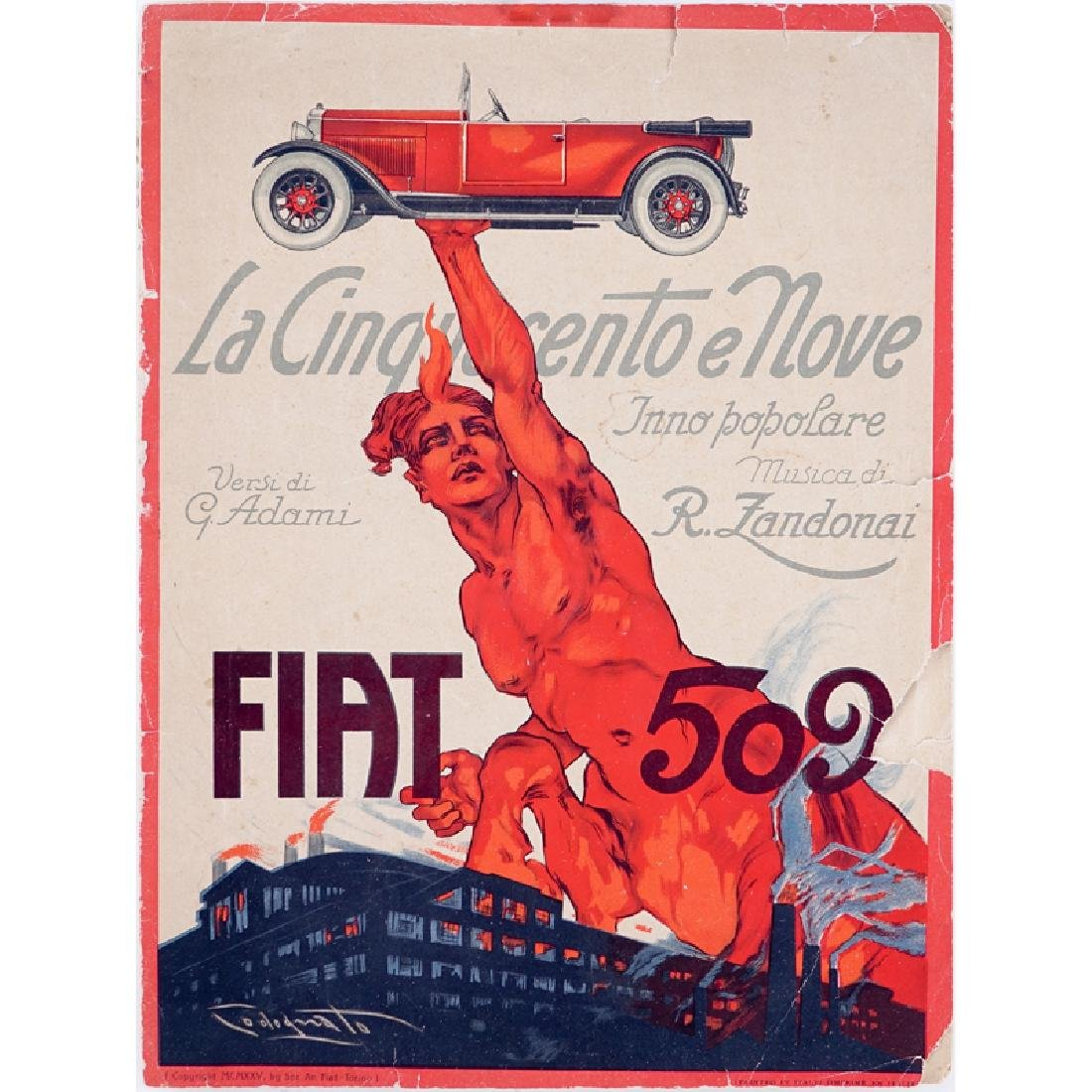 1925 Sheet Music For Fiat 509 Illustrated by Plinio