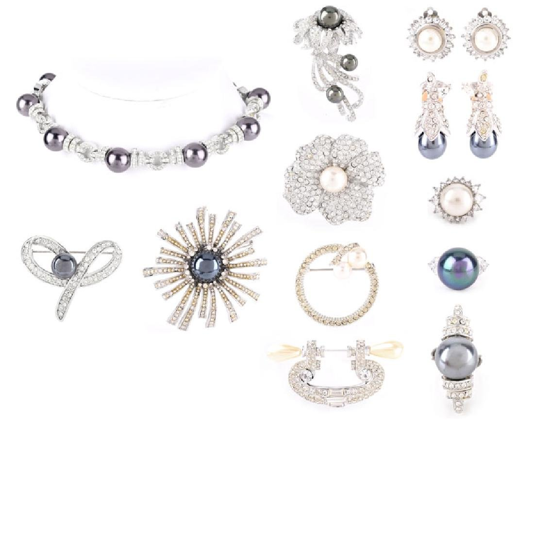 Lot of Twelve (12) Pieces Silver-Tone, Faux pearl and
