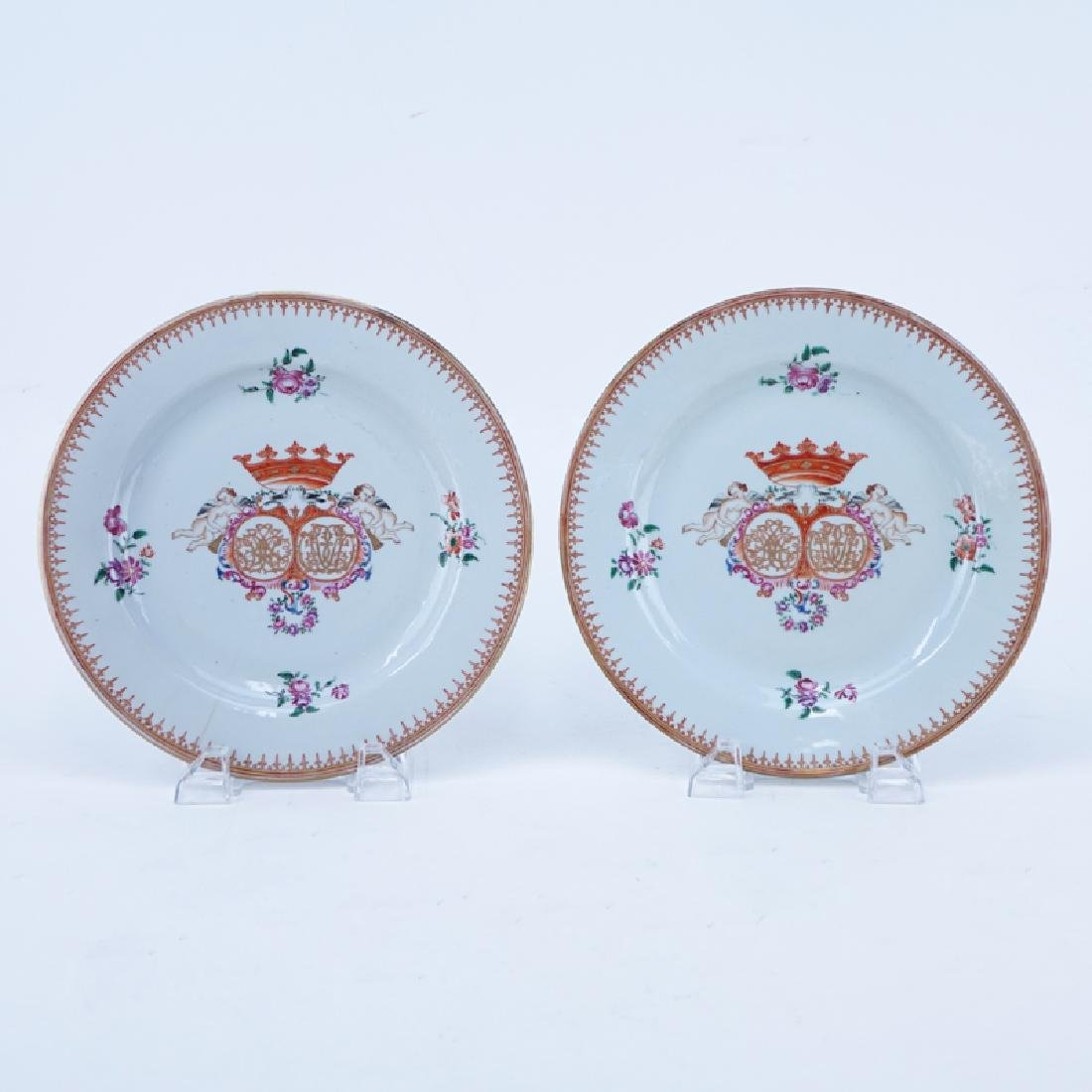 Pair Of Early Chinese Export Pottery Armorial Plates