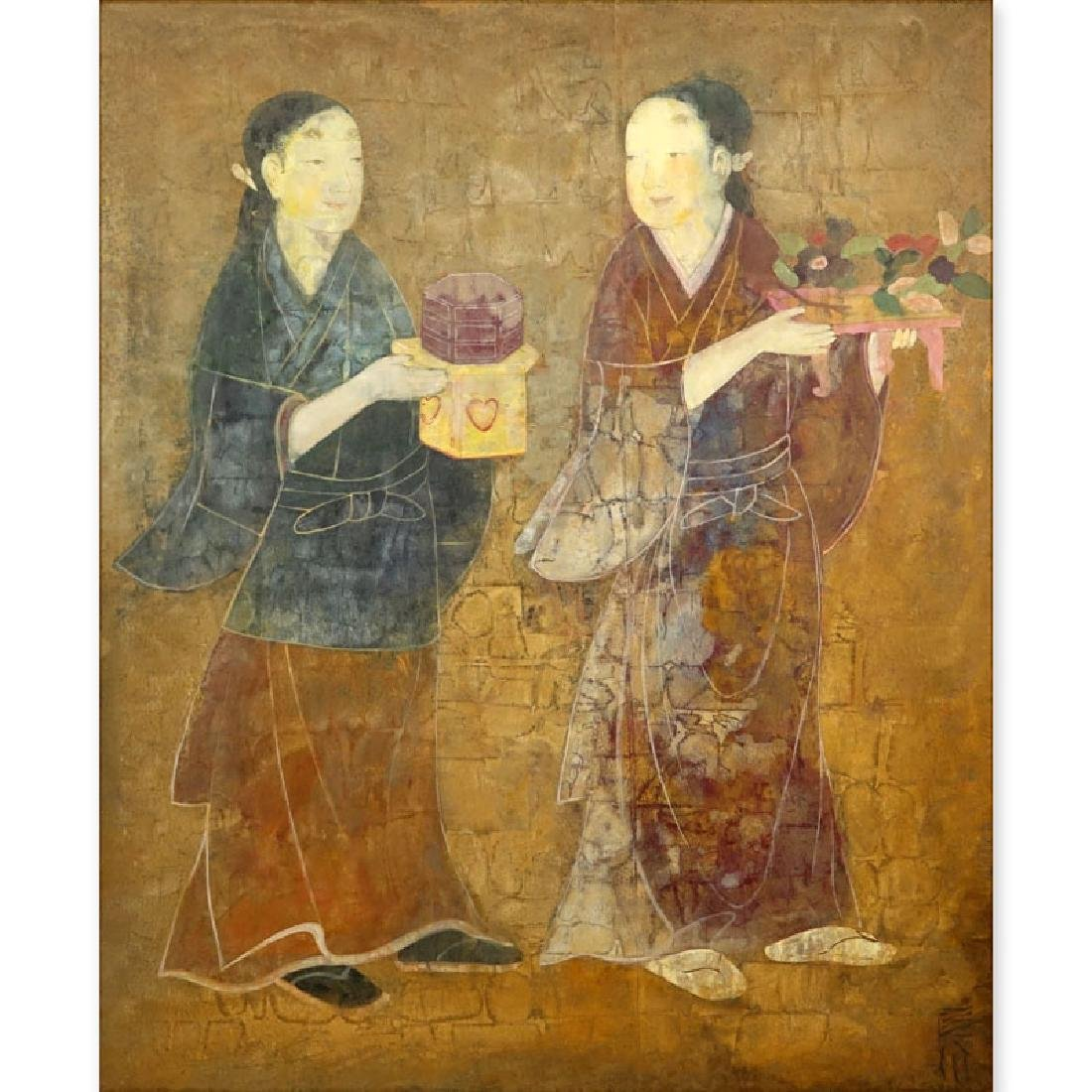 Mid Century Chinese Painted Scroll Depicting Women