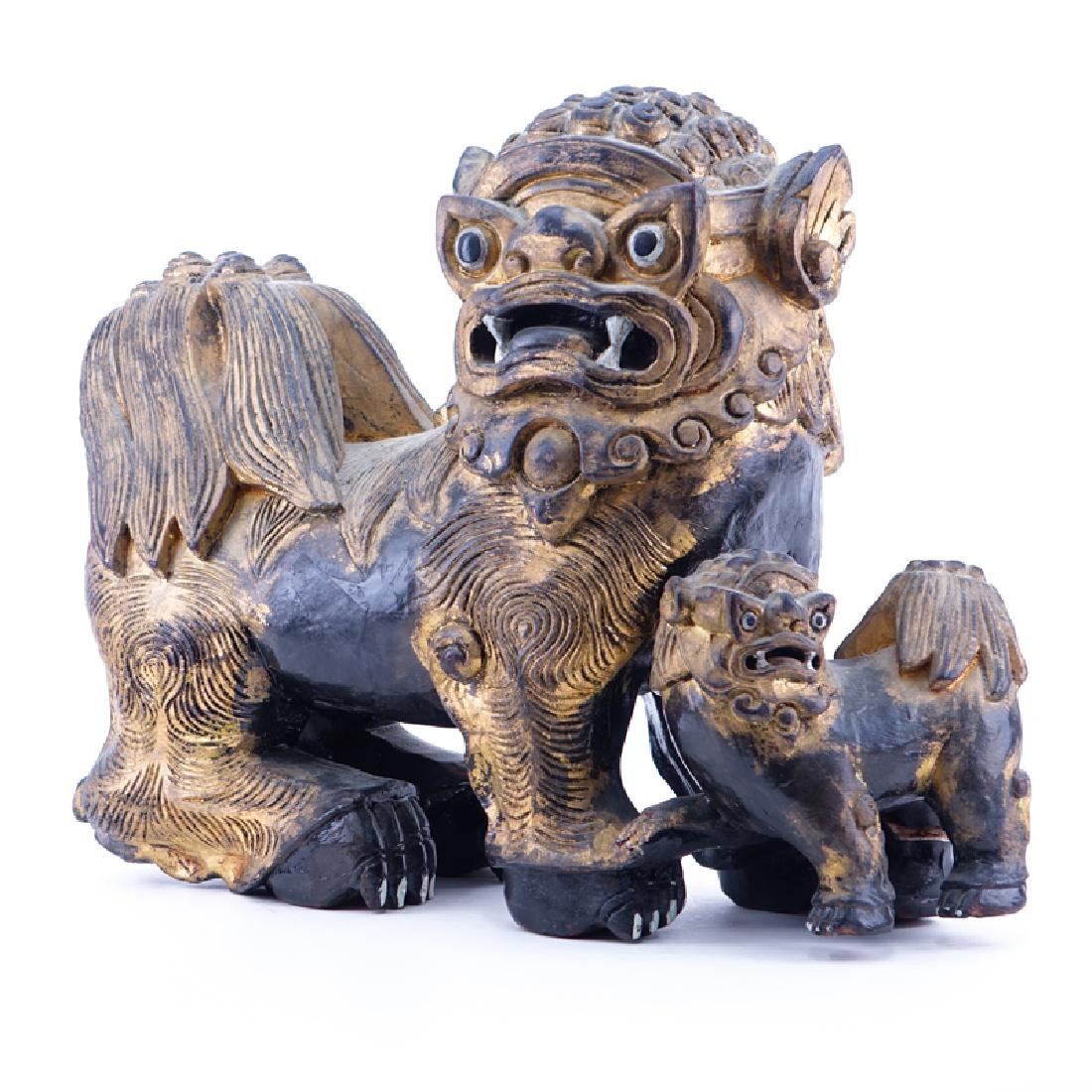 Large Modern Chinese Carved Wood Foo Dog Group