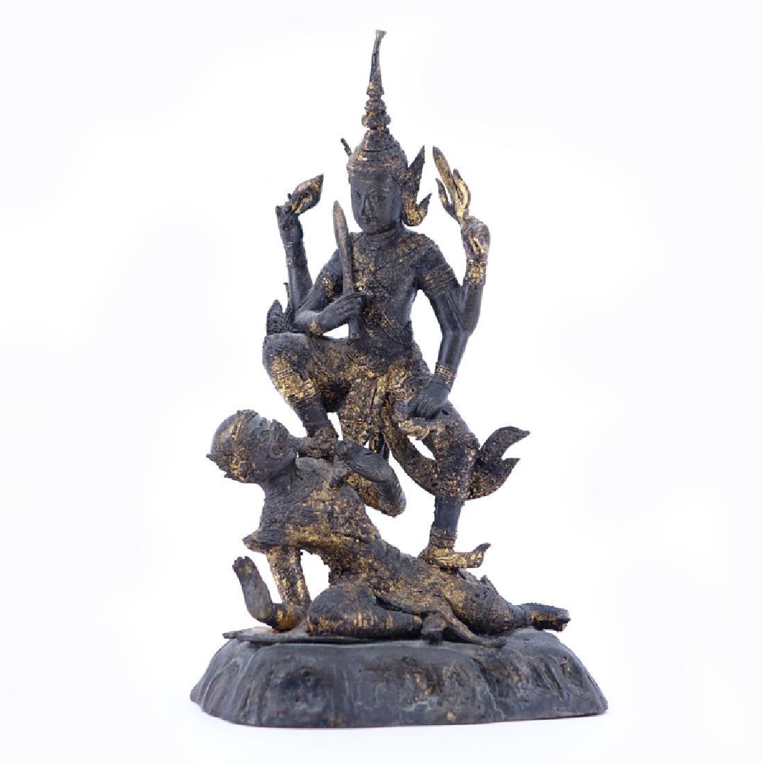 "Antique Thai Bronze Group ""Warrior Killing Devil"""