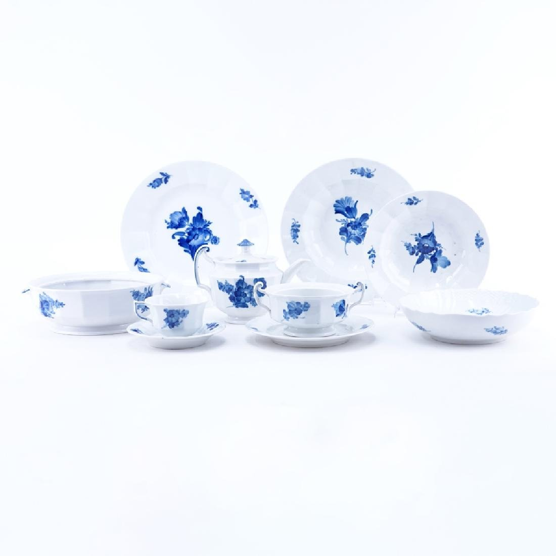Sixty-Four (64) Pieces Royal Copenhagen Blue Flowers