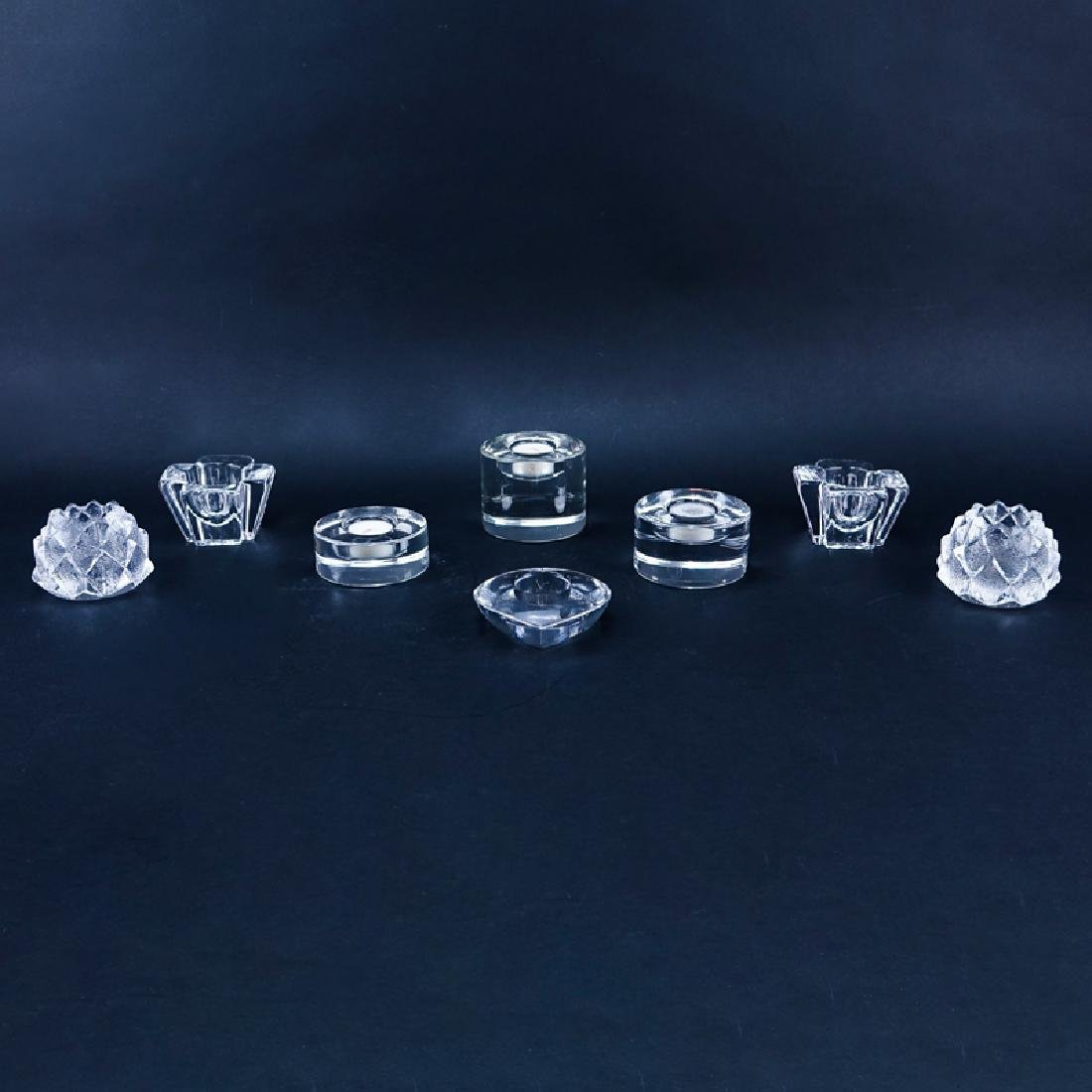 Collection of Eight (8) Orrefors Crystal Candle Holders
