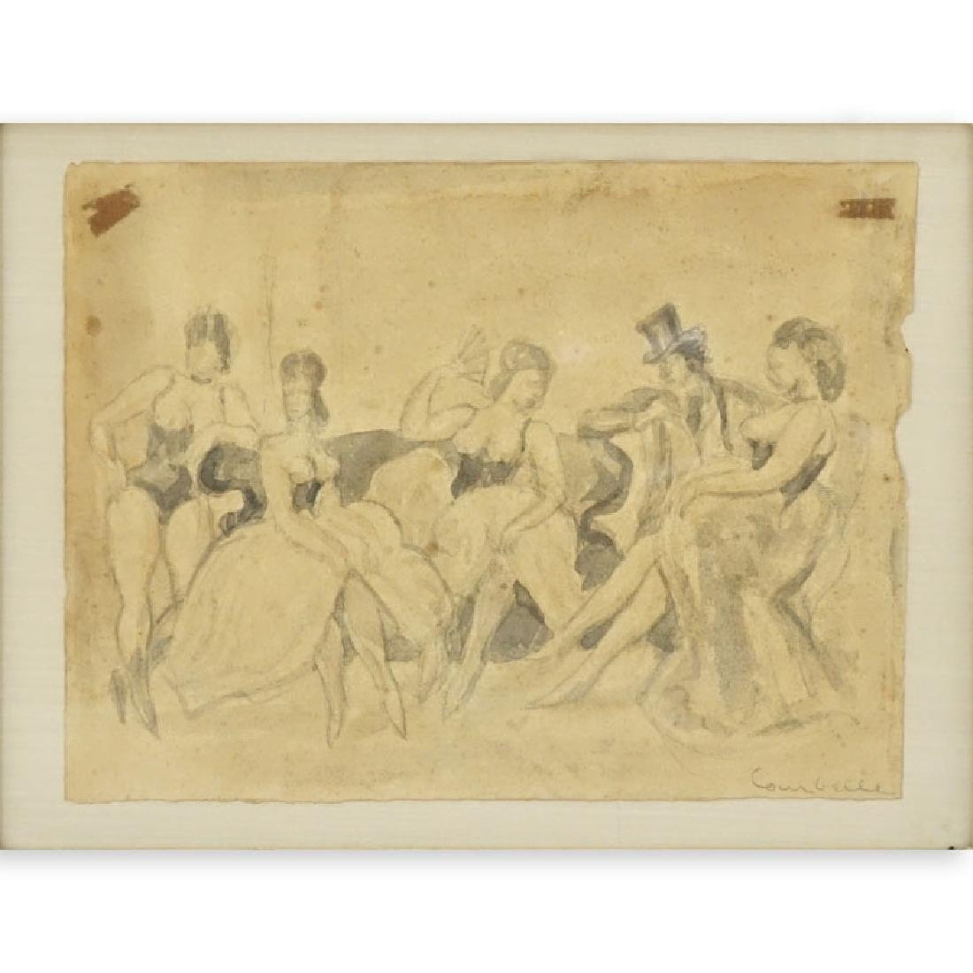 "19/20th Century Pencil Drawing On Paper ""Ladies Of The"