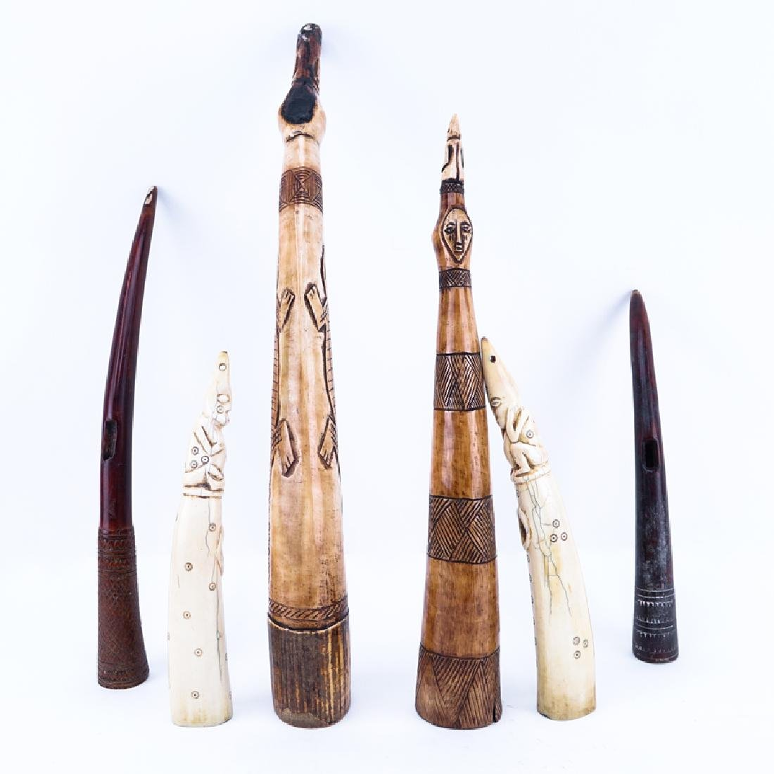 Collection of Six (6) Carved African Bone Tusks
