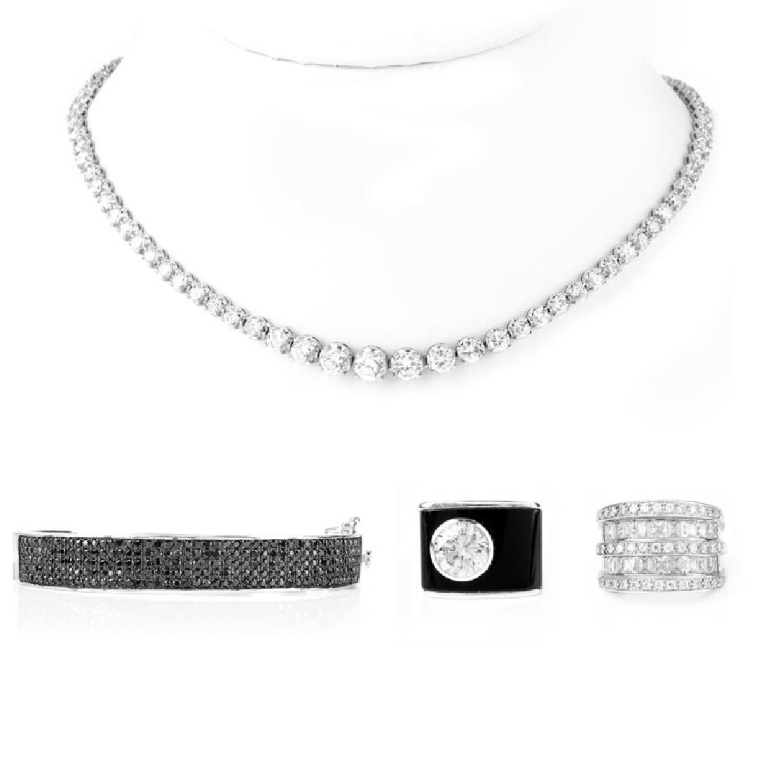 Four (4) Pieces Vintage Sterling Silver And CZ Costume
