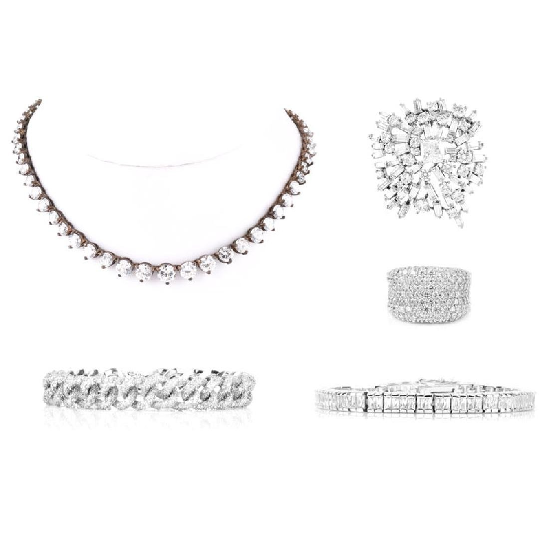 Five (5) Pieces Vintage Sterling Silver and CZ Costume