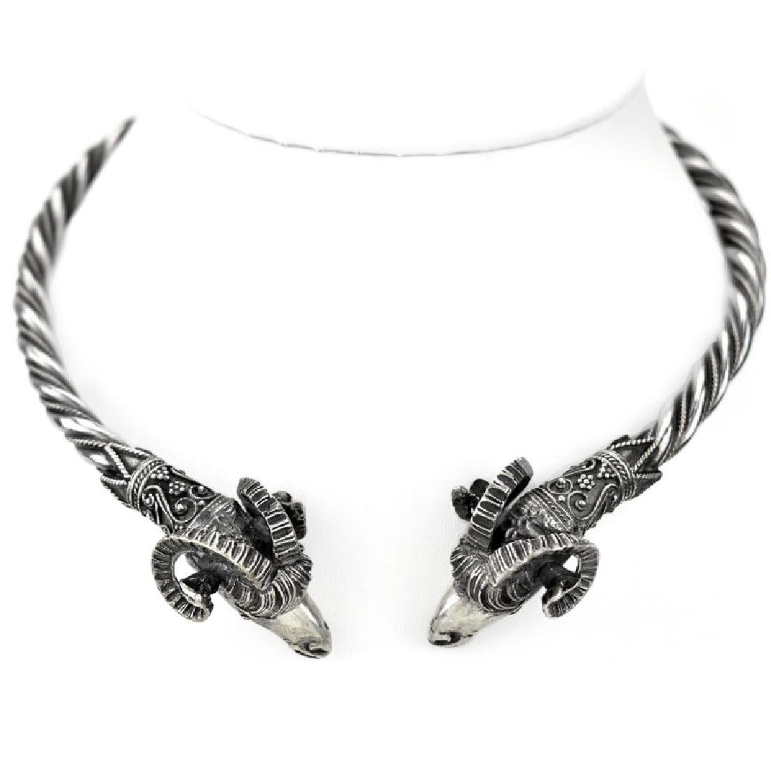 Vintage Sterling Silver Rams Head Hinged Choker