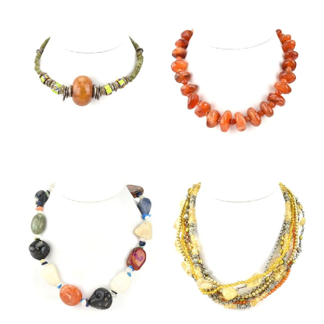 Four (4) Vintage Hardstone Beaded Necklaces