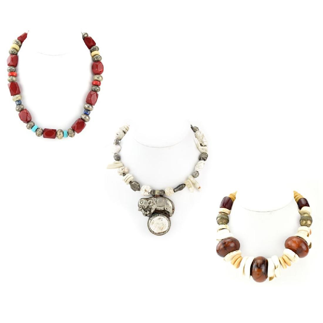Three (3) Chunky Boho Style Necklaces