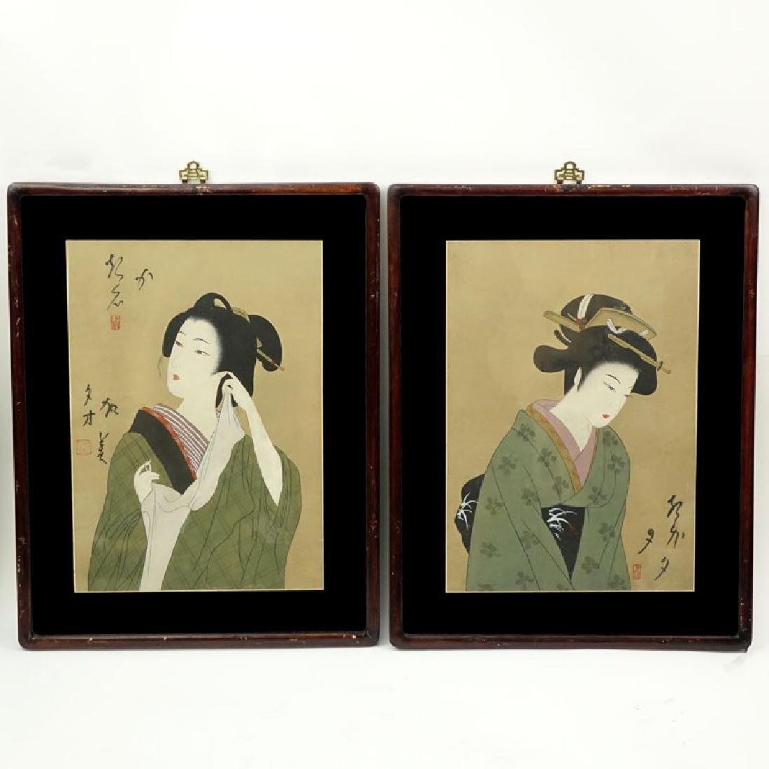 Two (2) Vintage Japanese Watercolor/Gouache On Paper