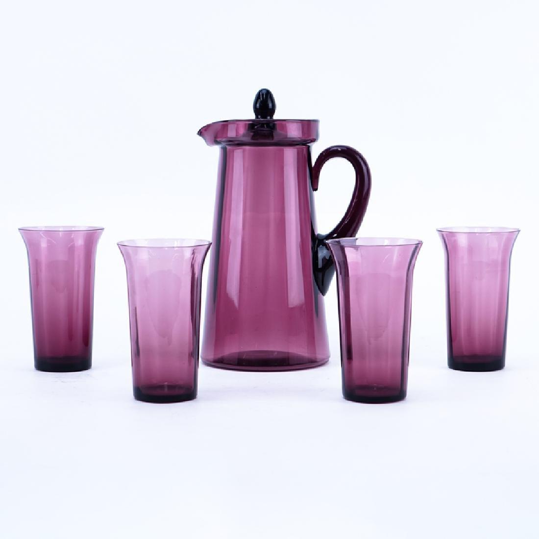 Five (5) Piece Fostoria Amethyst Glass Water Set