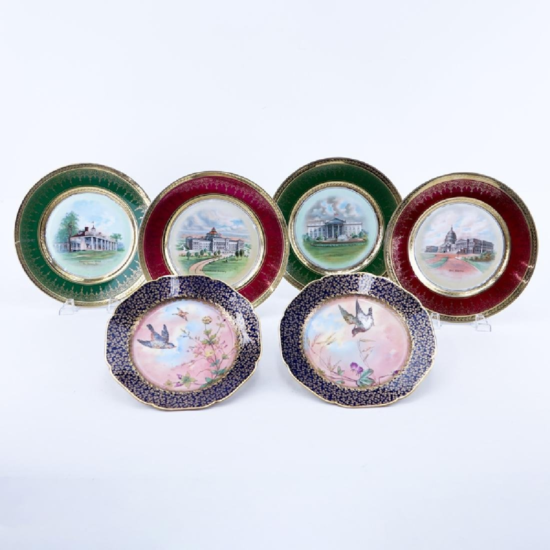Collection of Six (6) Vintage Porcelain Cabinet Plates