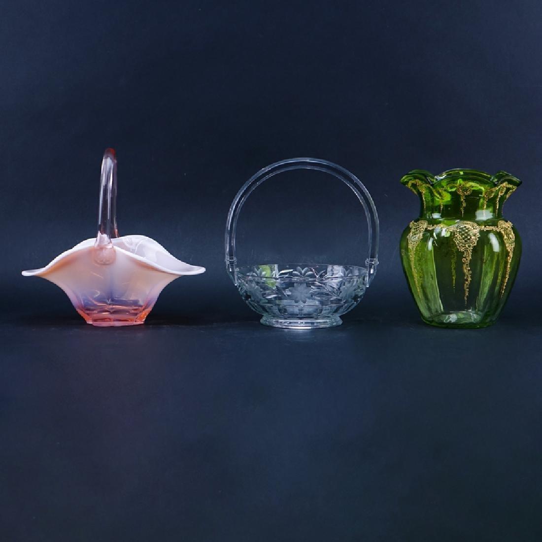 Grouping of Three (3) Art Glass Tablewares