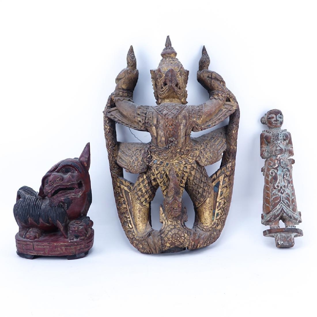 Lot of Three (3) Asian Wood Carvings