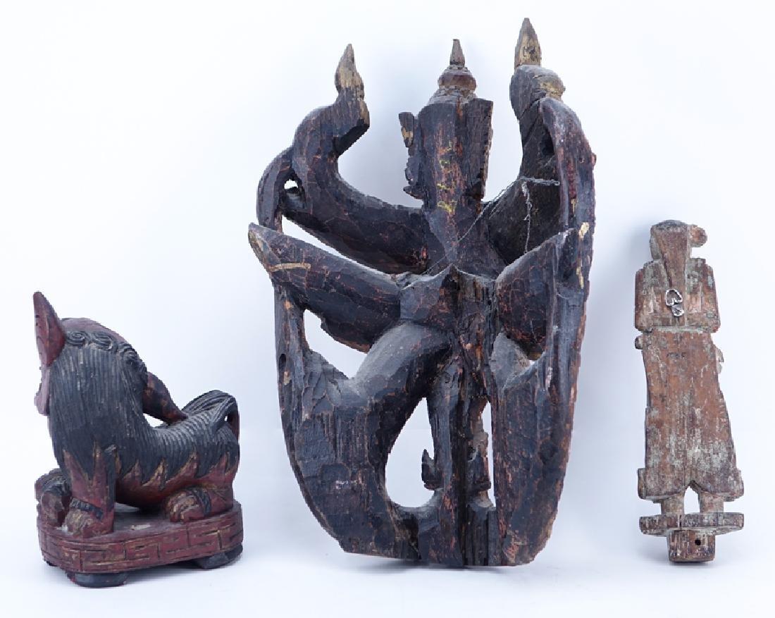 Lot of Three (3) Asian Wood Carvings - 2