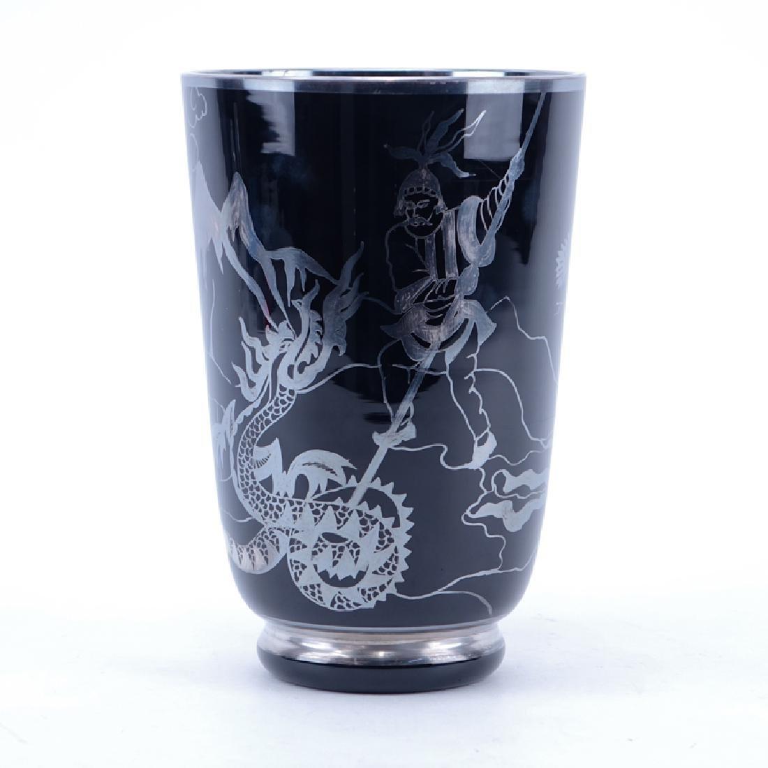 Vintage Décor Main Silver Overlay Amethyst Glass Vase