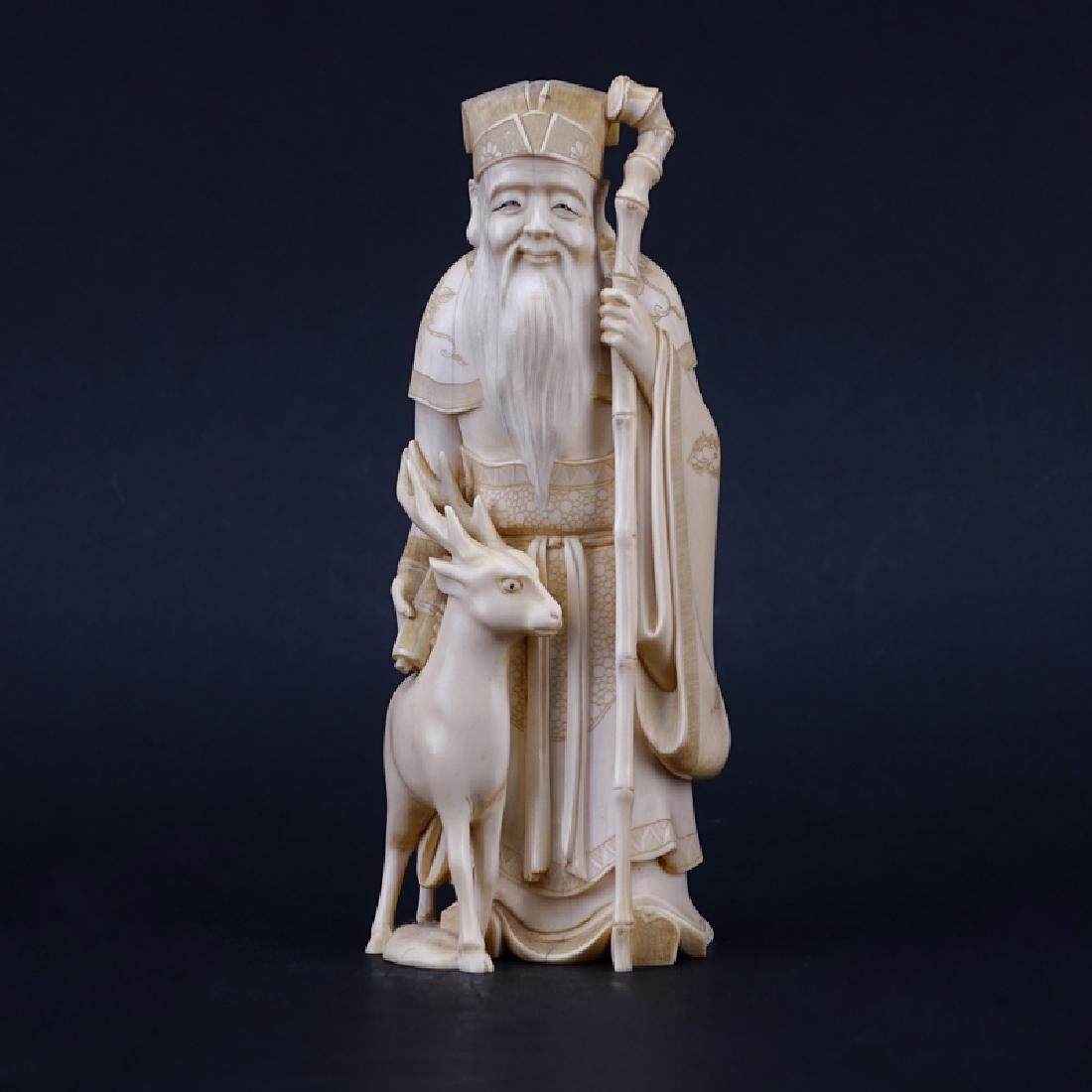 Antique Chinese Carved Ivory Figure Of A Wiseman With