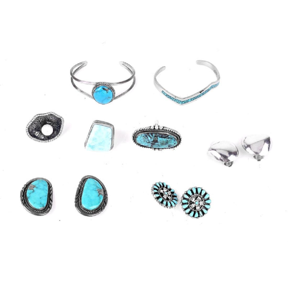 Lot of Vintage Sterling Silver and Stone Jewelry