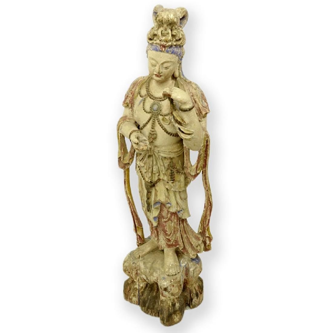 Chinese Ming Style Polychrome Carved Wood Standing