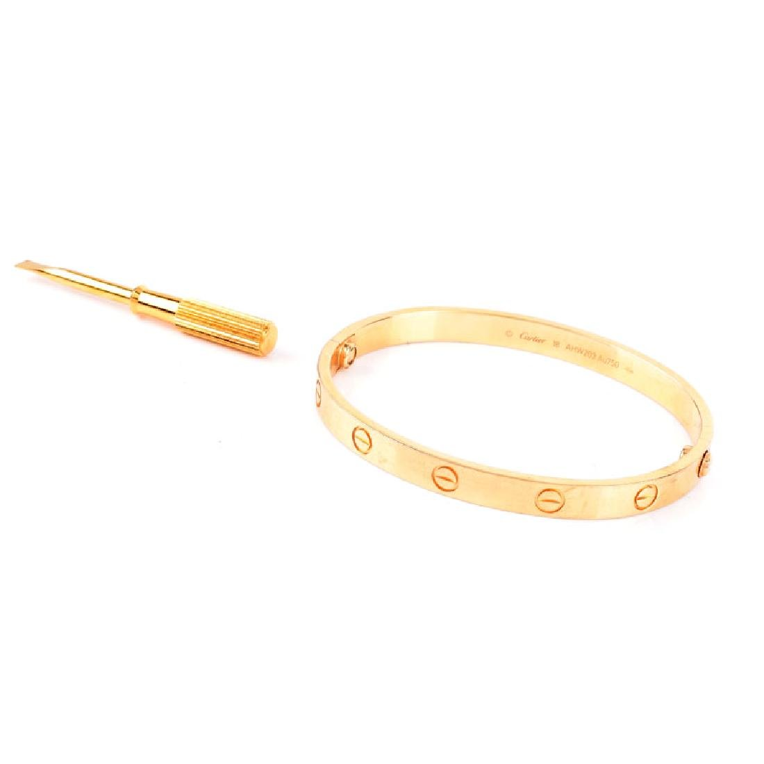 Circa 2014 Cartier 18 Karat Yellow Gold Love Bracelet - 3