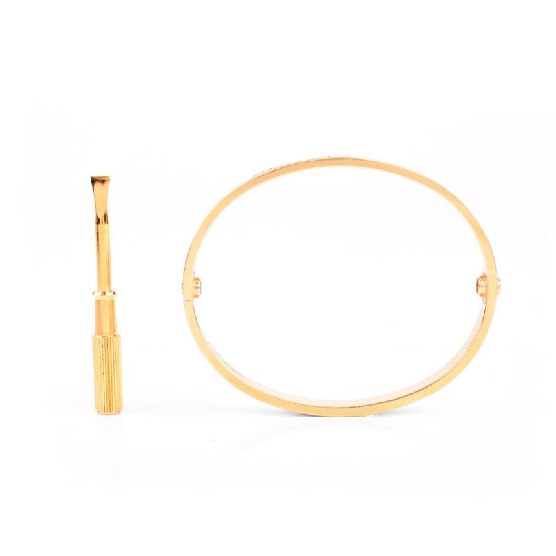 Circa 2014 Cartier 18 Karat Yellow Gold Love Bracelet - 4
