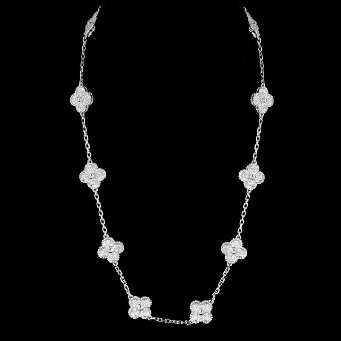 Van Cleef & Arpels Style Diamond and 18 Karat White