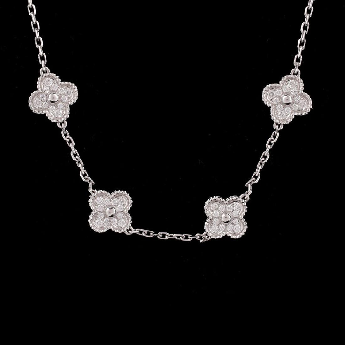 Van Cleef & Arpels Style Diamond and 18 Karat White - 2